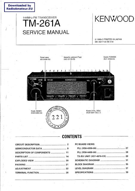 Kenwood tm-261a sm service manual download, schematics, eeprom.