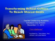 Transforming School Culture to Reach Shared Goals