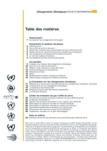 Table des matières - UNEP