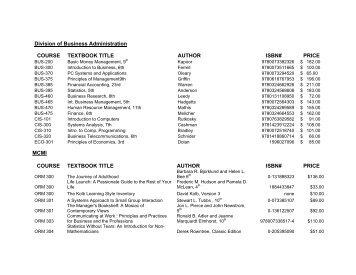Course Book List - Morris College