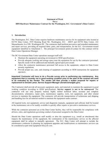 statement of work for a ibm hardware maintenance contract for the