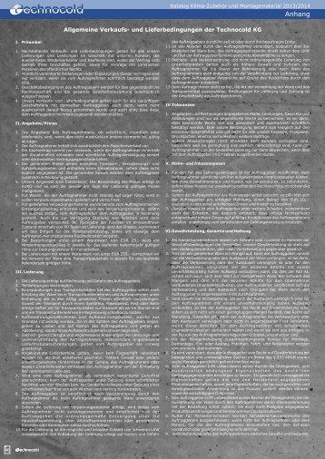 Technocold KG Lieferbedingungen