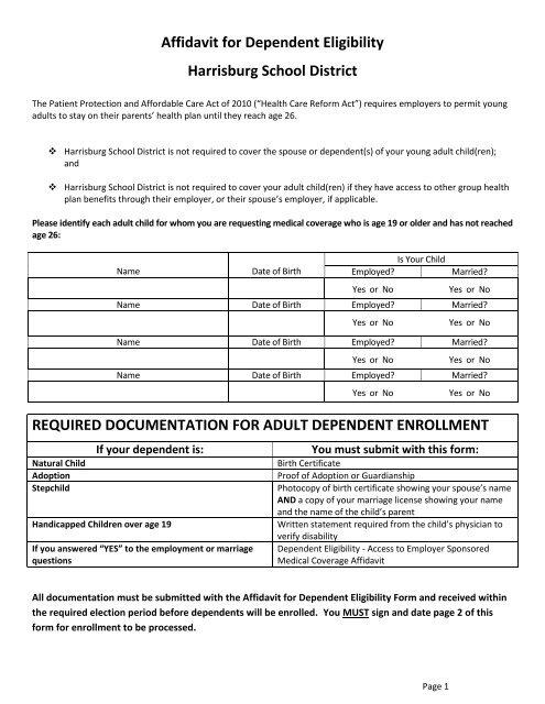Affidavit for Dependent Eligibility Harrisburg School District .