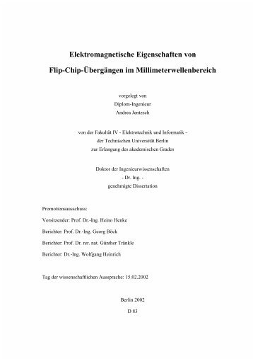 Elektromagnetische Eigenschaften von Flip-Chip-Übergängen im ...