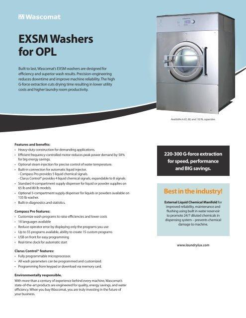 EXSM Washers for OPL - Laundrylux