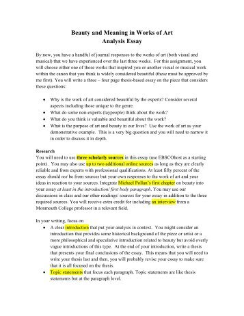submission notes position essay using sources beauty and meaning in works of art analysis essay monmouth