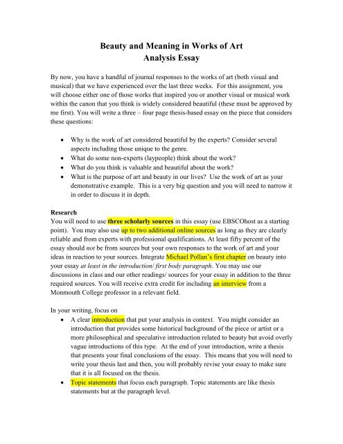 Beauty and meaning in works of art analysis essay monmouth