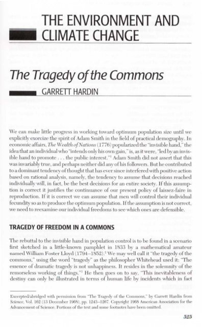garrett hardins essay the tragedy of the commons can be applied to real life scenarios
