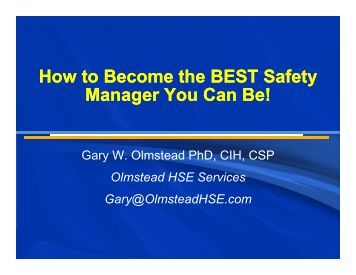 How to Become the BEST Safety Manager You Can Be! - The South ...