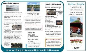 2013 Adventures & Tour Destinations Brochure - Garnett Tourism