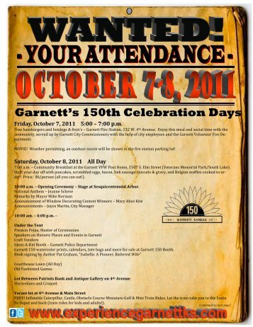 Garnett's 150th Celebration Days