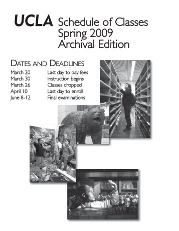 UCLA Schedule of Classes Spring 2009 - Registrar - UCLA