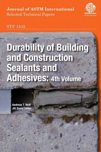 Durability of Building and Construction Sealants and Adhesives: 4th ...