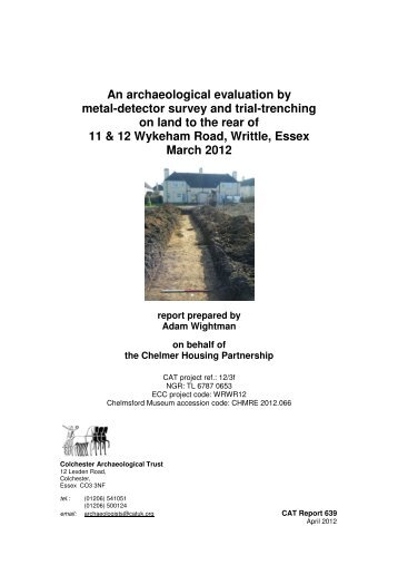 An archaeological evaluation by metal-detector survey and trial ...