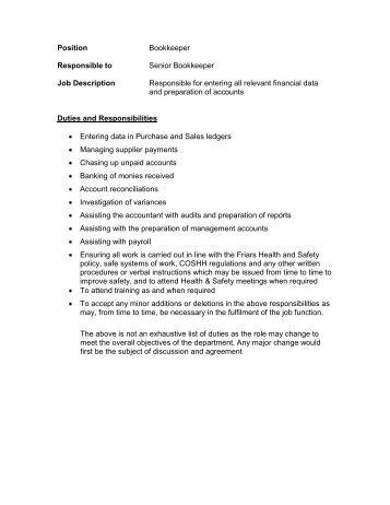 Bookkeeper Job DescriptionCurrent   Westminster