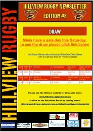 HILLVIEW RUGBY NEWSLETTER EDITION #8