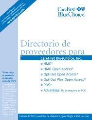 Directorio de Proveedores para CareFirst BlueChoice, Inc.