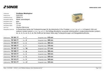 Großbass Metallophon 22201201 GBKM 10 Metall, speziallegiert ...