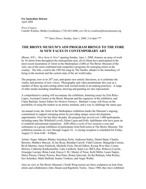 For Immediate Release - The Bronx Museum of the Arts
