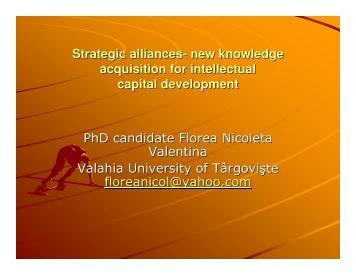 Strategic alliances- new knowledge acquisition for ... - ecr-uvt