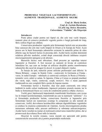 71 PRODUSELE VEGETALE LACTOFERMENTATE ... - ecr-uvt