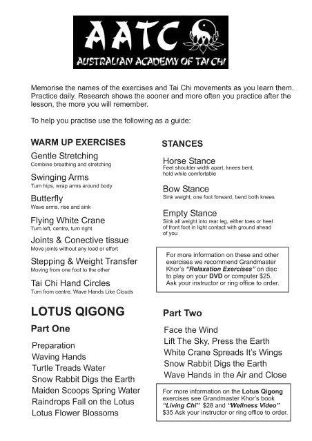 beginners-exercise-sheet - Australian Academy of Tai Chi