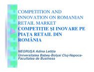 Competition and Innovation on Romanian Retail Market - ecr-uvt