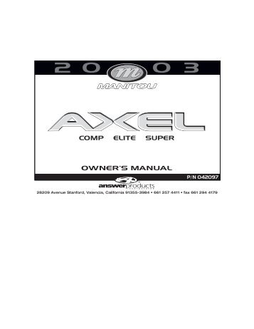 Manitou-Answer 2002 Six Comp Luxe Service Manual