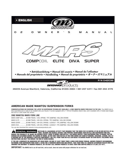 Manitou-answer 2002 black comp, elite air & super air service.