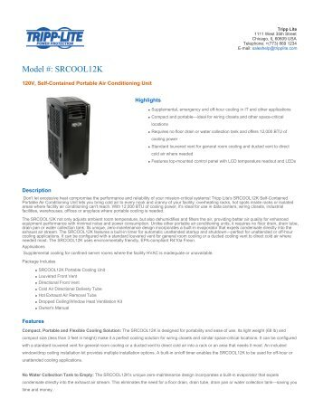 Download Portable AC Unit with SRCOOLNET Accessory ... - CE Pro