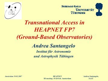 Transnational access: ground experiments - HEAPnet