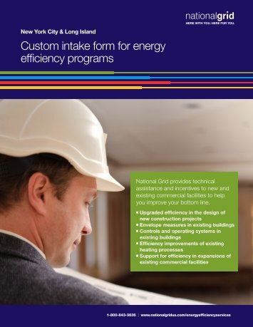 National Grid Custom Intake Form for Energy Efficiency Programs
