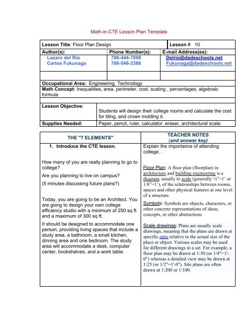 Math In Cte Lesson Plan Template