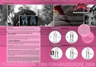 FORHÅNDSORDRE 2004 FORHÅNDSORDRE 2004 - Sportpartner