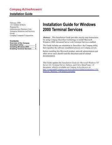 Installation Guide for Windows 2000 Terminal Services