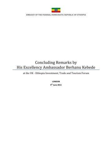Closing Remarks by H.E. Ambassador Berhanu Kebede
