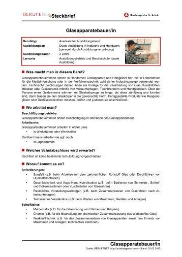 Glasapparatebauer/in Steckbrief Glasapparatebauer/in
