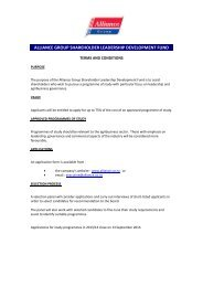 alliance group shareholder leadership development fund
