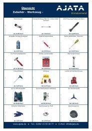 Übersicht Zubehör - Werkzeug - - AJATA Einradversand