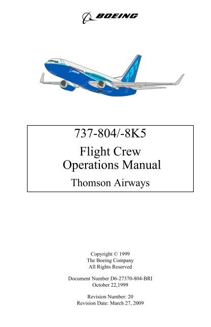 737-804/-8K5 Flight Crew Operations Manual - 737NG co uk