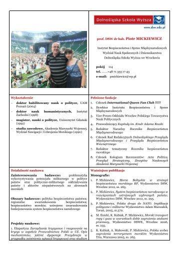 prof. DSW dr hab. Piotr MICKIEWICZ - Dolnośląska Szkoła Wyższa