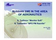 russian sme in the area of aeronautics - Aeronautics Days 2006