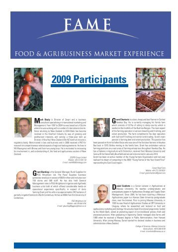 2009 Participants - Food and Agribusiness Market Experience ...