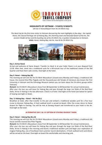 HIGHLIGHTS OF VIETNAM – 9 DAYS/ 8 NIGHTS - Innovative Travel