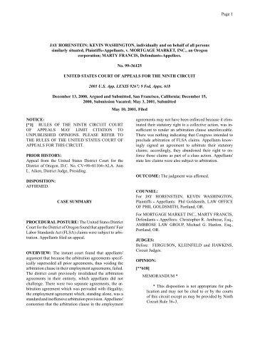 Horenstein, et al. v. Mortgage Market Inc., et al - Law Offices of ...