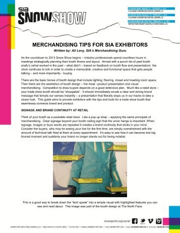 Download the Merchandising Tips for Exhibitors - SIA Snow Show