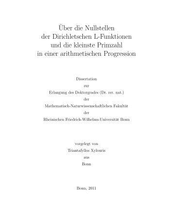 ¨Uber die Nullstellen der Dirichletschen L-Funktionen und die ...
