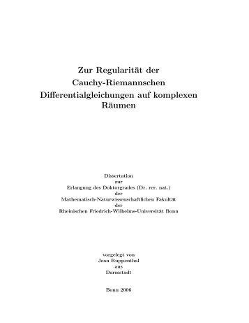 Zur Regularität der Cauchy-Riemannschen ... - Universität Bonn