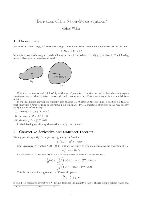 Derivation of the Navier-Stokes equation - Michael Walter