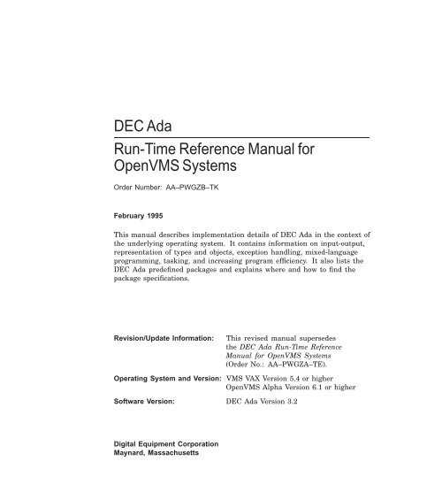 DEC Ada Run-Time Reference Manual for OpenVMS Systems